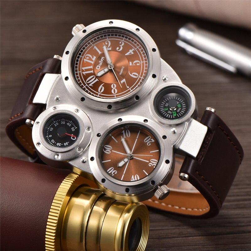 Big Face Oulm Luxury Brand Original Imported Quartz Watches Men Unique Design Dual Time Watch Decorative Thermometer Compass