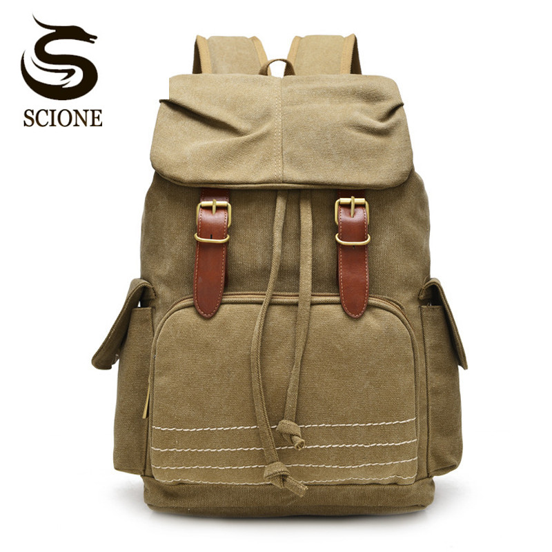 Scione 2018 New Retro Canvas Drawstring Backpack Men and Women Travel Rucksack College School Bags High Quality Canvas Backpacks high quality retro style men backpack multifunction casual travel canvas backpacks daily rucksack cotton canvas backpack