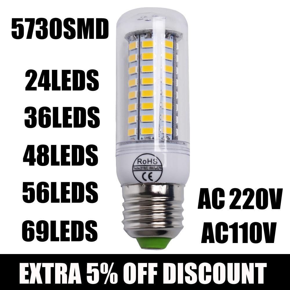 1pcs 2015 Full New Led Lamp E27 E14 24/36/48/56/69 Leds Smd 5730 Corn Bulb 220v Chandelier Leds Candle Light Spotlight