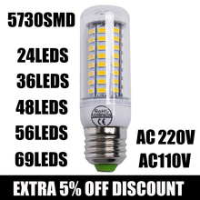 1Pcs 2015 Full NEW LED lamp E27 E14 24/36/48/56/69 leds SMD 5730 Corn Bulb 220V Chandelier LEDs Candle light Spotlight