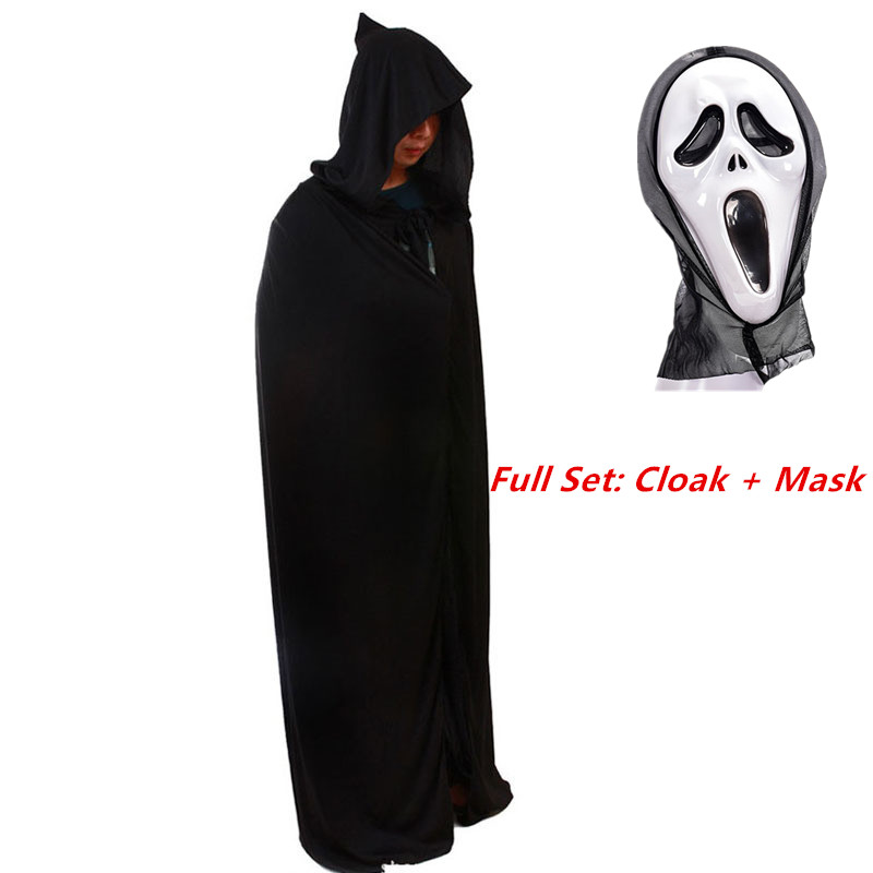 Unisex Adult Black Halloween Ghost Costume Theater Prop Death Hoodie Cloak Devil Long Tippet Cape with Hat Death Mask