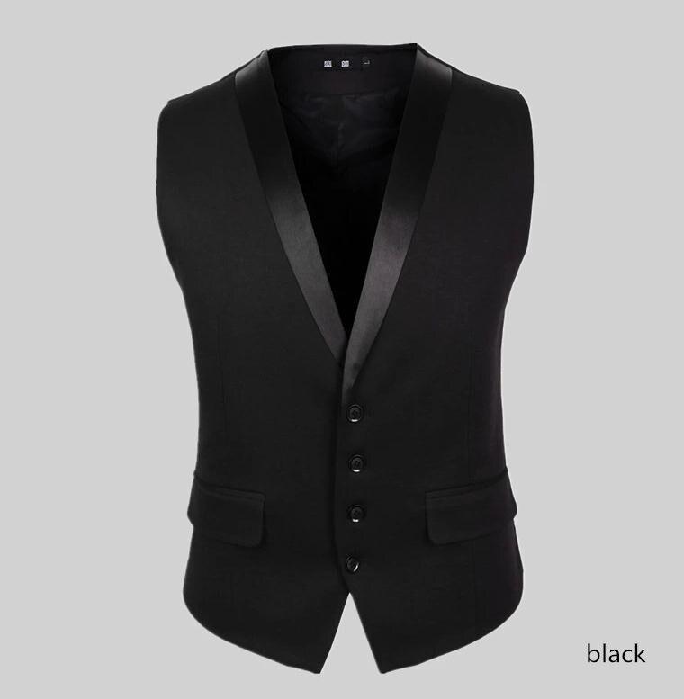 Высококачественный мужской жилет мужской Модный повседневный костюм с v-образным вырезом Тонкие жилеты плотной посадки мужская одежда костюм жилет - Цвет: Черный