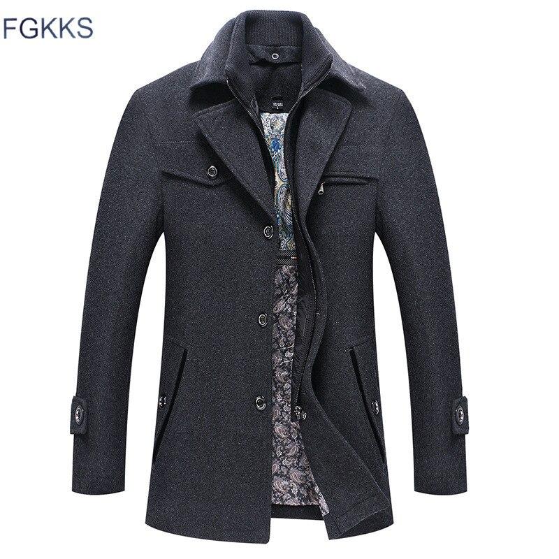 FGKKS Men Winter Wool Coat Men's Autumn Casual Solid Color Multi-Pocket Wool Blends Woolen Pea Coat Male Trench Coat Overcoat