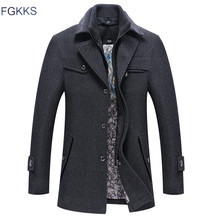 FGKKS Men Winter Wool Coat Mens Autumn Casual Solid Color Multi Pocket Wool Blends Woolen Pea Coat Male Trench Coat Overcoat