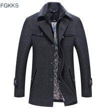 FGKKS erkekler kış yün ceket erkek sonbahar rahat düz renk çok cep yün karışımları yün bezelye ceket erkek trençkot palto