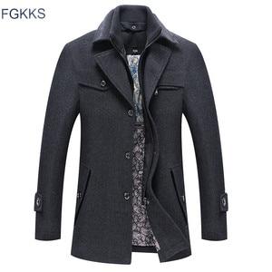 Image 1 - FGKKS hommes hiver laine manteau hommes automne décontracté couleur unie multi poche laine mélanges laine caban mâle Trench manteau pardessus