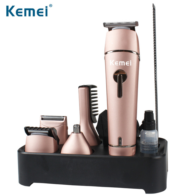 Kemei 5 In 1 Washable Professional Hair Clipper Electric Hair Trimmer Nose Ear Body Beard Trimmer Shaver For Men And Kid kemei 5 in 1 waterproof rechargeable electric hair clipper men trimmer professional nose ear beard trimmers shaver cutting tool