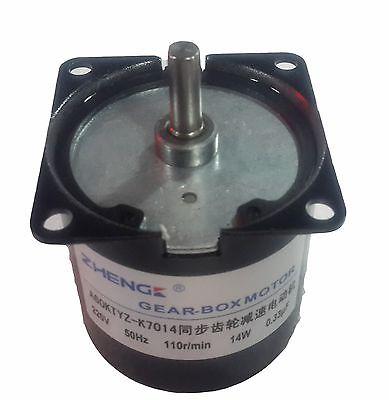 60KTYZ AC Synchronous Gear Motor 220V 14W 110r/min 7mm Shaft Diameter цены