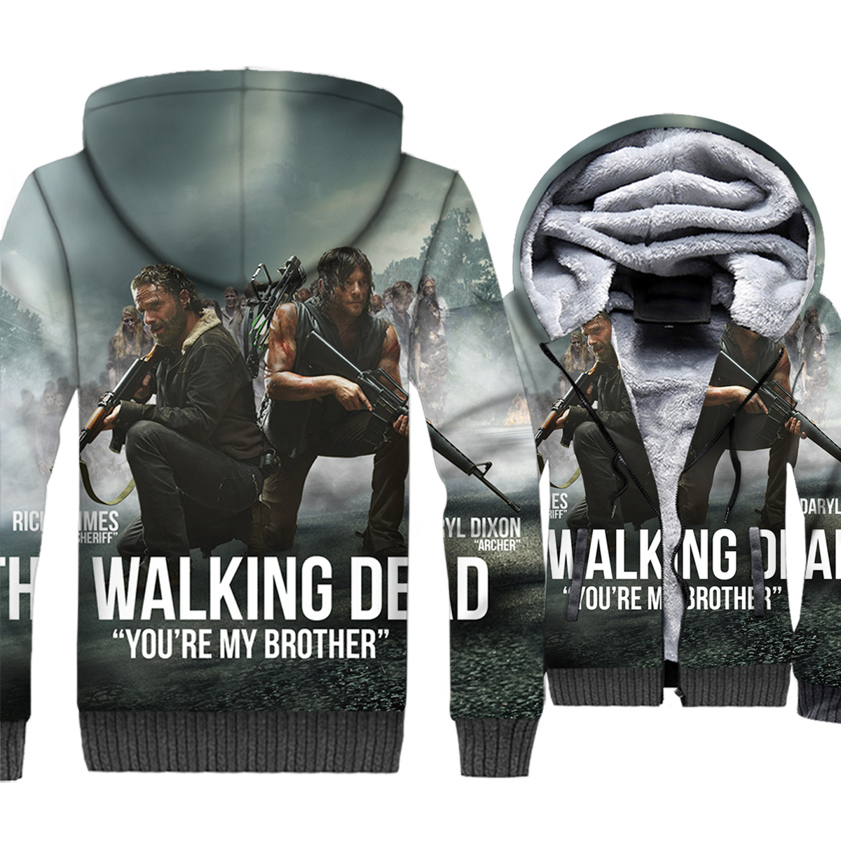 The Walking Dead Jacket Men 3D Hipster Hoodies Rick Sweatshirt 2018 Winter Thick Fleece Zipper Coat Sportswear Brand Clothing