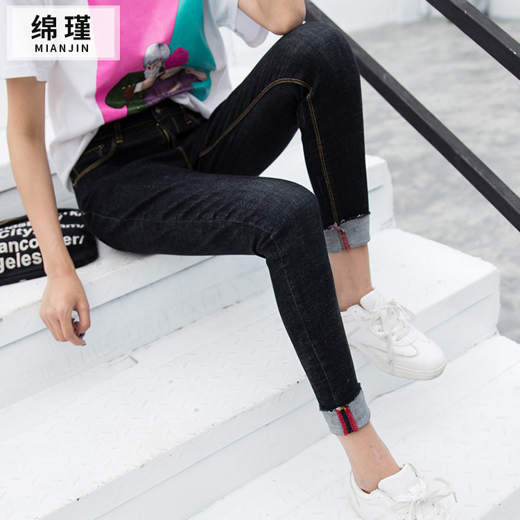 ФОТО Fashion women JeansFashion women Jeans With High Waist Jeans Woman High Elastic plus size Women Jeans washed casual skinny penci