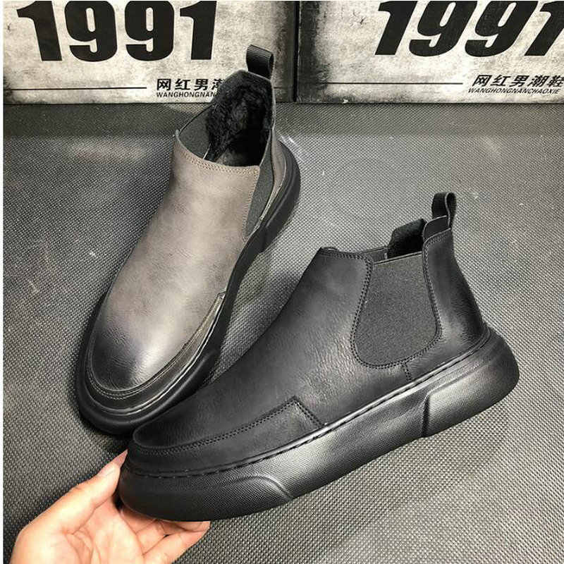 bce5120e3b2824 2019 High Top Oxford Boots Men Flats Platform Casual Shoes Autumn Fashion  Slip On chelsea ankle
