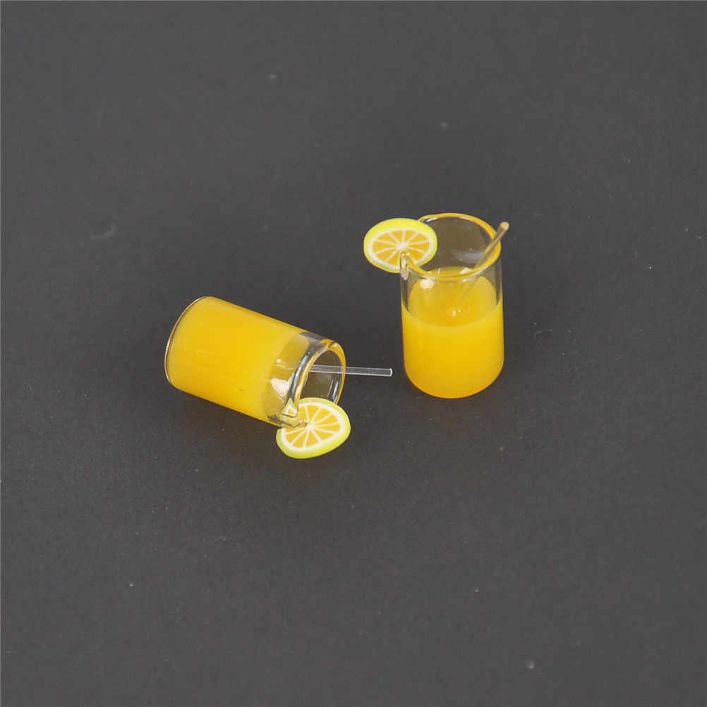 1/2pcs/lot  Mini Resin Lemon Water Cup 1:12 Dollhouse Miniature Mini Decoration Gifts Dollhouse Accessories Cups Toy