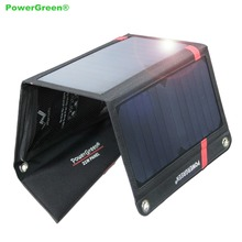 Anti-water Fast Charging Solar Panel Multi USB 21 Watts PowerGreen Foldable Solar Charger Mini Solar Power System for Cell Phone
