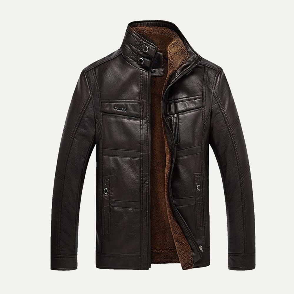 NEW Fashion Men Winter Tops Long Sleeve Faux Leather Jacket  Coat  FleeceLining Jacket Men