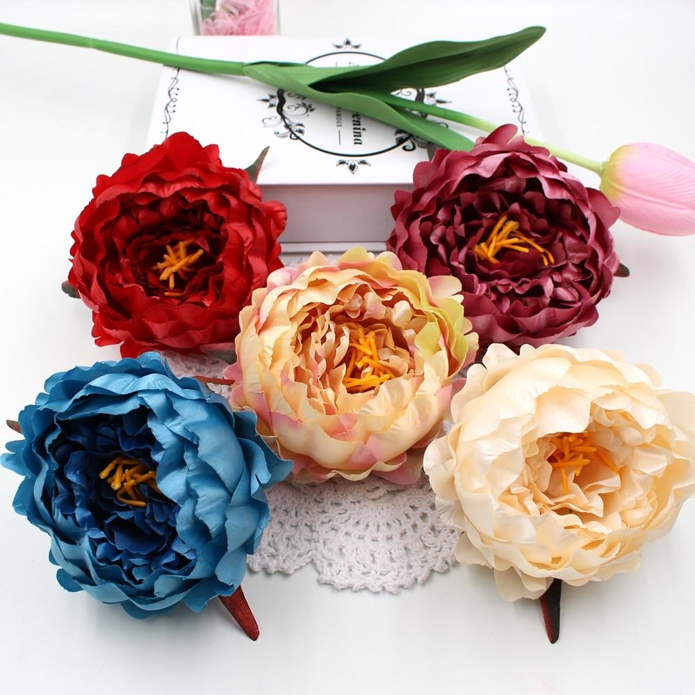 1pcs 11cm Big Silk Artificial peony flower head wedding decoration DIY home decoration craft bonsai artificial flowers