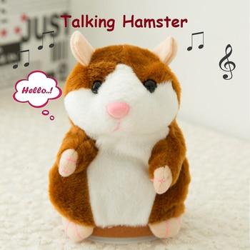 Lovely Talking Hamster Speak Talk Sound Record Repeat Stuffed Plush Animal 14CM mini Hamster Toys for Children talking hamster plush toy hot cute speak talking sound record hamster toy