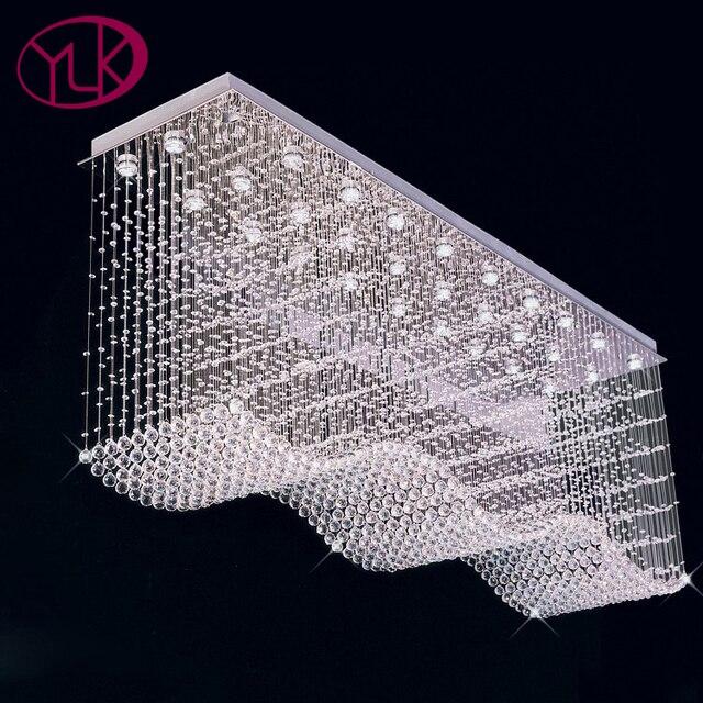 youlaike large modern crystal chandelier rectangle wave design