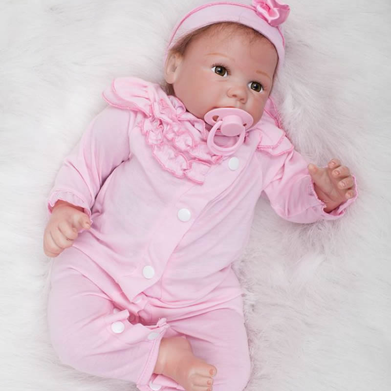 Real Lifelike Reborn Baby Girl 20 Inch 50 cm Newborn Babies Doll Realistic Alive Dolls Toy With Rooted Mohair Kids Birthday Gift