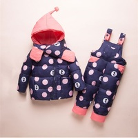 Dulce Amor Kids Clothes Set Winter Warm Down Jacket+Romper+Scarf 3PCS Windproof Outerwear For 30 Degree Russian Winter Snowsuit