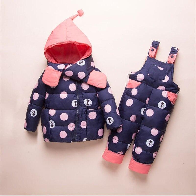 Dulce Amor enfants vêtements ensemble hiver chaud doudoune + barboteuse + écharpe 3 pièces coupe-vent vêtements d'extérieur pour-30 degrés russe hiver Snowsuit