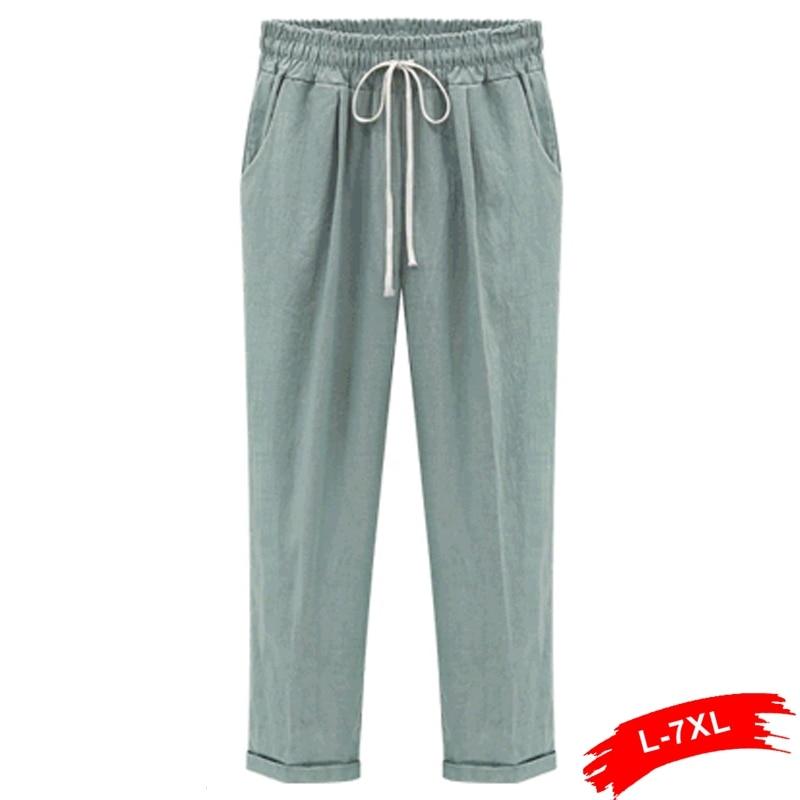 Summer Harem Linen   Pants   Women Plus Size Trousers Mid Waist Cropped   Capri     Pants   Pantalon Femme Femininas Xxxl 4Xl 5Xl