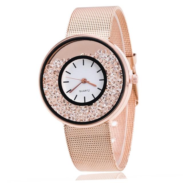 Lover's Quartz Watch Women Men Simple Stainless Mesh Band Wrist Watches Ladies D