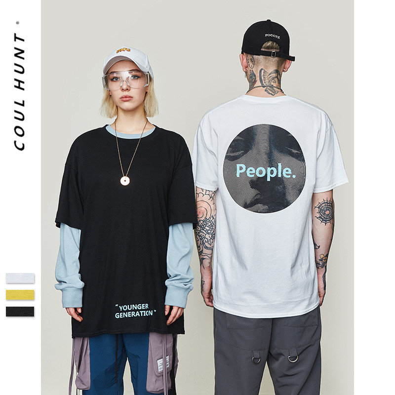 2019 SS Tide Brand Portrait Creative Print Printed T Shirt Hip Hop Rock Short Sleeve Cotton People Printes Loose T-shirt S-XL