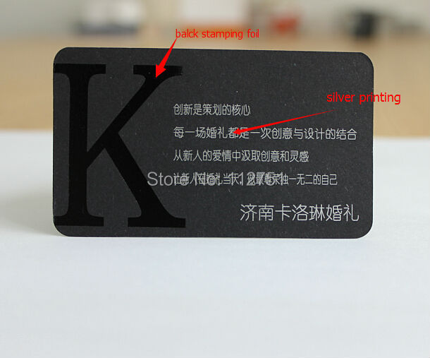 High Quality 600gsm Matte Black Paper Card Business Printing With White Color Print