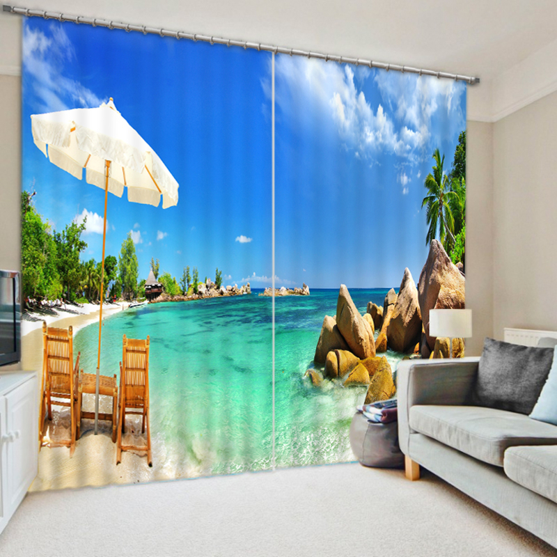 New 3D Children Curtain Beach Holiday Landscape Printing Full Thicken Blackout For Living Room Kids