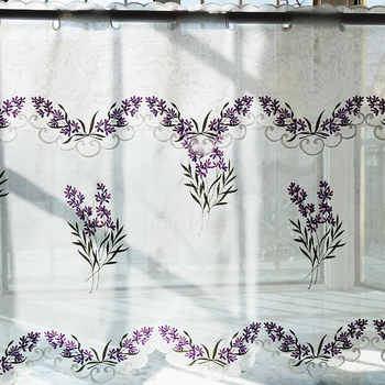 2PCS/set pastoral embroidered lavender Window door Curtain Tiers kitchen curtain 1 Tiers 1 valance M562