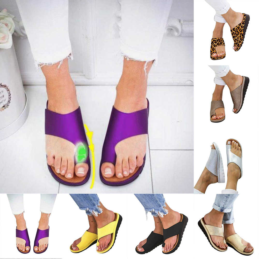 64e332751e Women PU Leather Shoes Comfy Platform Sandals Flat Sole Ladies Soft Big Toe  Foot Correction Sandal