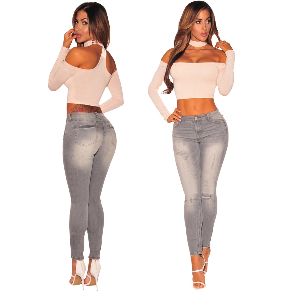 South American new hot fashion personality wear old high waist casual sexy women small feet   jeans