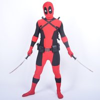 Cool KIds Deadpool Costume Red Full Body Spandex Boy Deadpool Cosplay Costumes Halloween Deadpool Costume Wholesale
