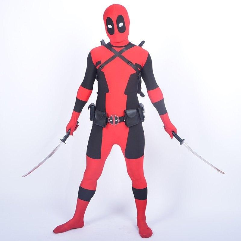 ②Cool niños deadpool traje rojo spandex cuerpo completo Boy ...