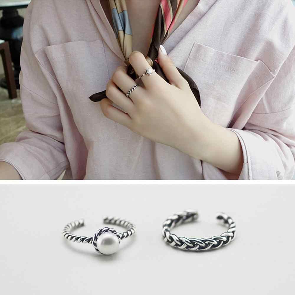 2 ชิ้น/เซ็ต Vintage โบราณเงินเปิดแหวน Twisted ทอ Inset เทียม Pearl Girl ของขวัญวินเทจสีดำ Onyx เปิดแหวน