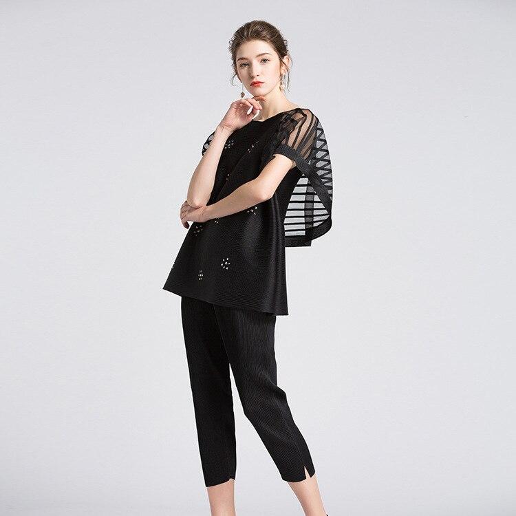 Courtes Et T Europe Dames Taille Manches États Été Simple unis 2018 Rond De Col Miyake Noir shirt Les Couture Femmes À Nouvelle m8vwO0Nn