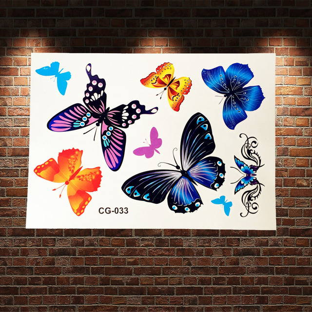 Child Flying Butterflies Flash Tattoo Stickers Waterproof Coloful Butterfly Tattoo Paste Kids Body Art ARm Tatoo Adhesive