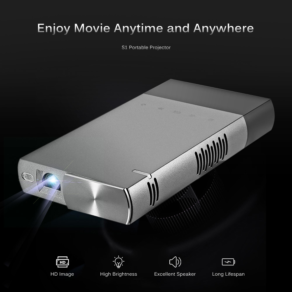 S1 Portable Projector MINI 60 ANSI Support 1080P DLP 3D Projector Full HD Video WXGA LED HDMI VGA Home Theater Projector bluetooth 4 0 android 4 4 wifi 6500lumens hdmi vga usb blue ray 3d portable hd 1080p lcd video led mini dlp 4k projector