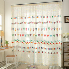 European style brand cotton linen curtain Cartoon printing window curtains for living room children's room kid room decoration