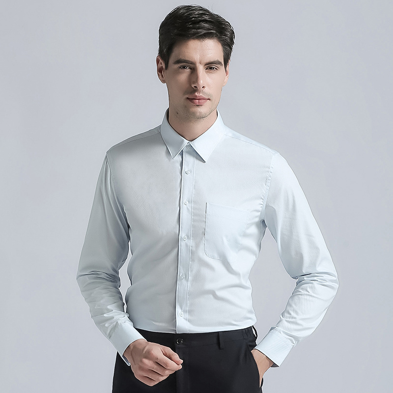 2019 New Brand Men's Regular Fit Dress Shirts High Quality Cotton Blend Long Sleeves Solid Color Mens Business Suits Shirt