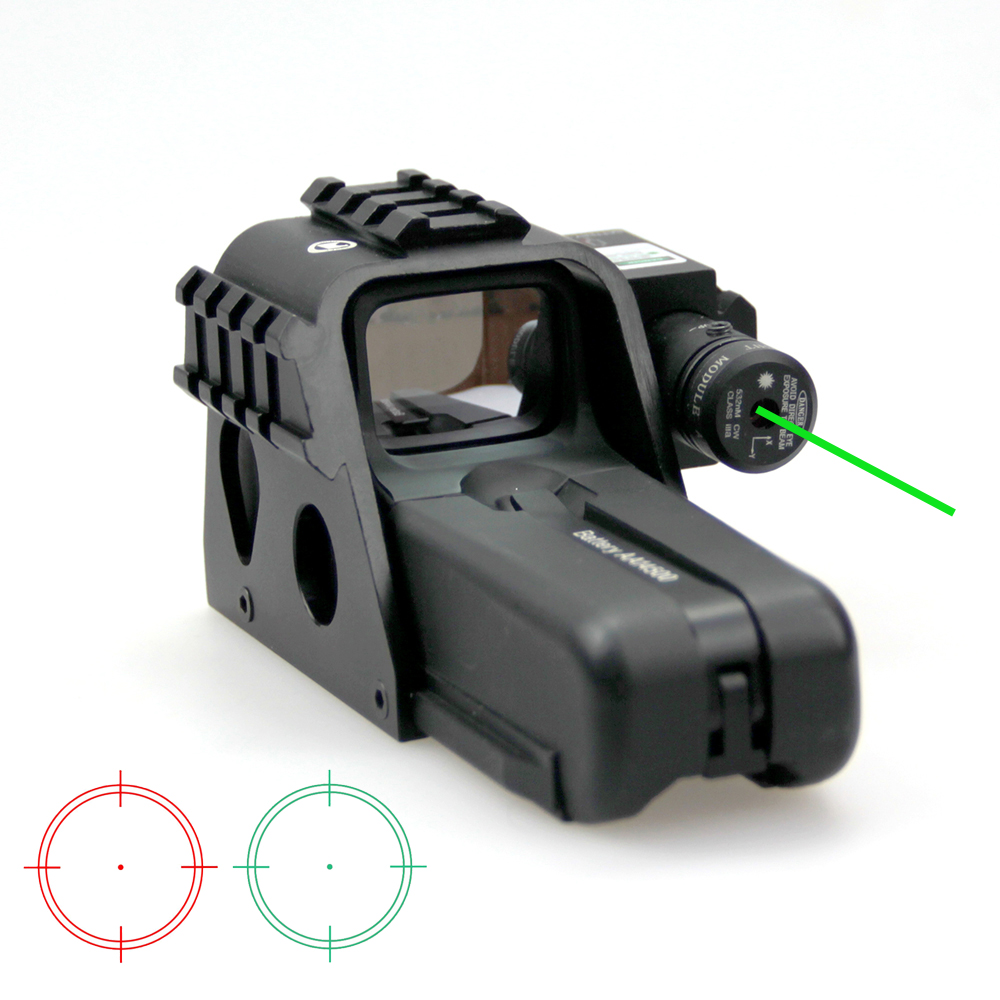 New Tactical Magnification 1x Reflex Holographic Red Green Dot Sight With Green Laser and Side Rail System For Outdoor Hunting. new tactical reflex green red dot sight scope