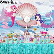 OurWarm Under the Sea Birthday Backdrop Candy Box Little Mermaid Party Supplies Photo Booth Props Photography Backdrops