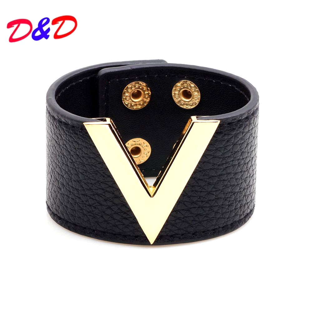 Europe And The Big Leather Bracelet Simple All-Match OL V Word Wide Bracelet For Women 2017 New Hand Jewelry