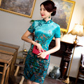 Flor de ameixa Vestidos Qipao Chinês Curto Cheongsam Qipao Cheongsam Vestido De Veludo Mulheres Plus Size 3XL Gola Mandarim Qipao Vestido