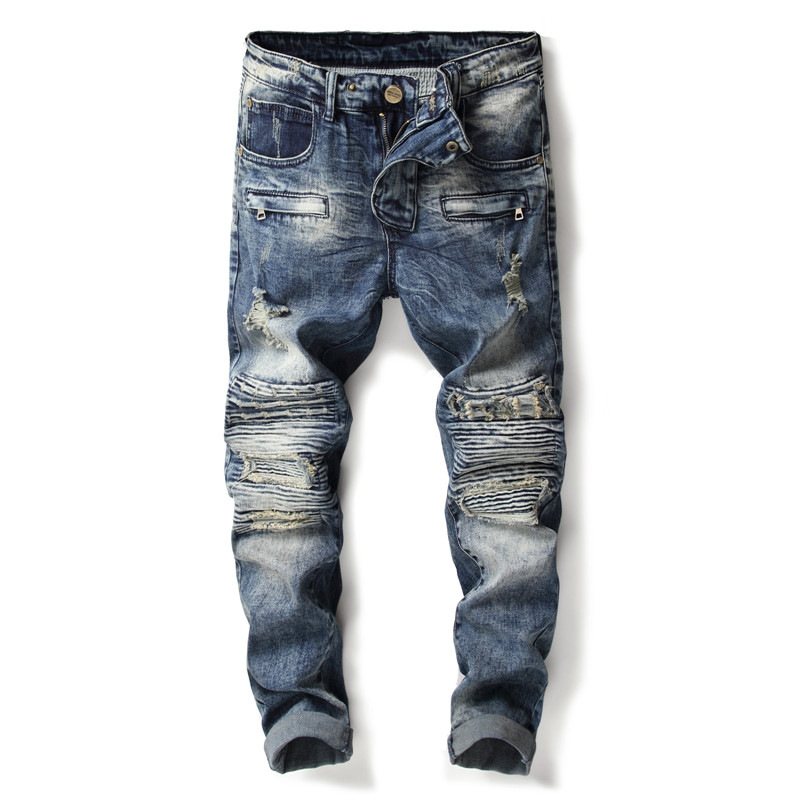 2018 New Mens Jeans Holes Pants Fashion Style Elasticity Casual Trousers Cool Stretch Man Denim Fulll Lenght Pants