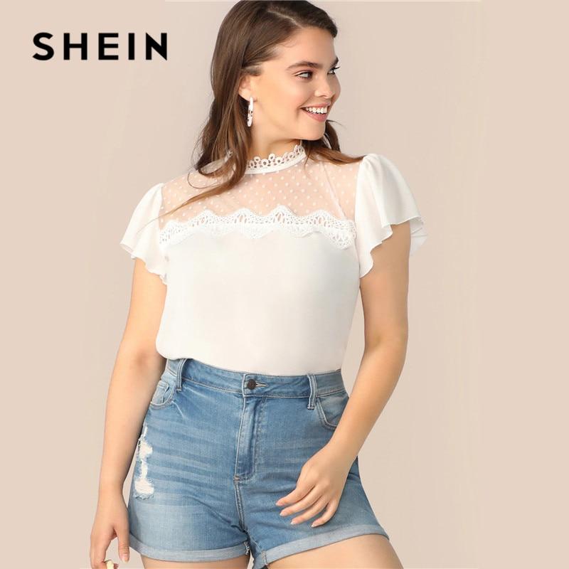 SHEIN Plus Size White Lace Applique Mesh Yoke Ruffle Shoulder Top Blouse 2019 Women Summer Casual Sheer Blouse Shirt