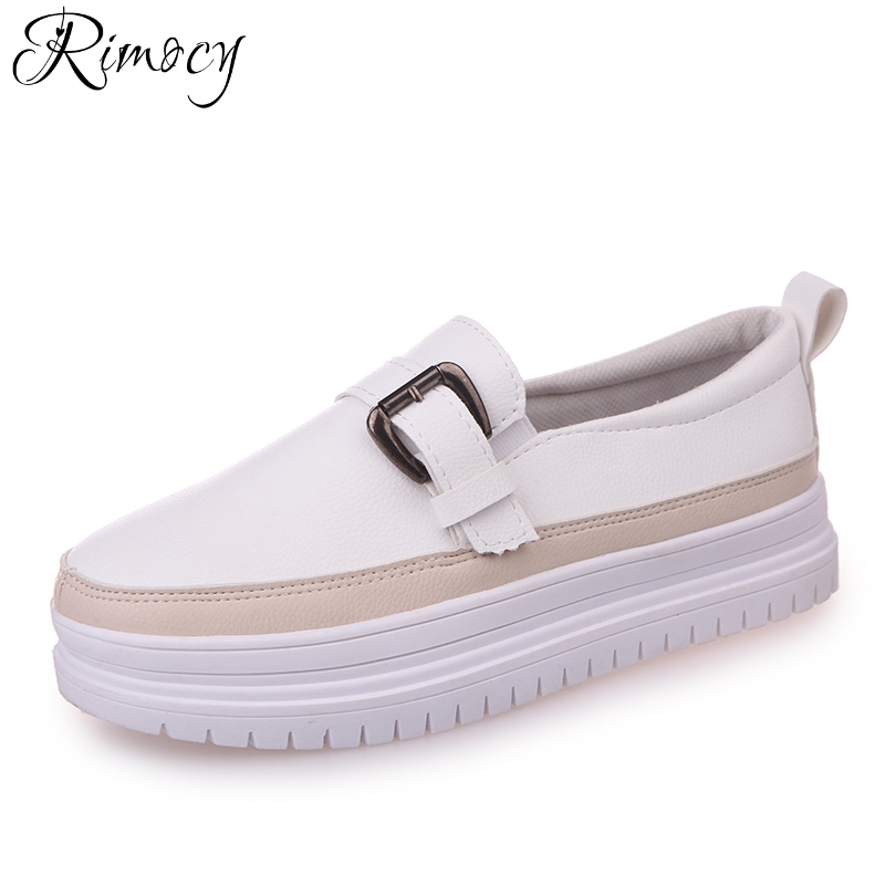Rimocy women's 2018 spring white shoes comfortable platform white black mix color slip on loafers woman casual driving flats lanshulan bling glitters slippers 2017 summer flip flops platform shoes woman creepers slip on flats casual wedges gold