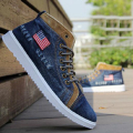 2017 New Year Spring Men Casual Canvas Shoes USA Flag Mens Denim Flats Retro High Male Shoeslace