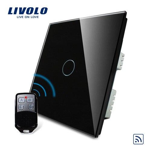 Livolo UK Стандартный беспроводной переключатель с дистанционным выключателем, сенсорный беспроводной переключатель, с пультом дистанционного управления, AC 220-250 В, C301R-61 и RMT-02 - Цвет: Black