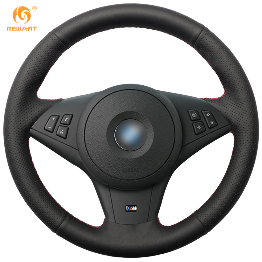 MEWANT Black Genuine Leather Car Steering Wheel Cover for BMW E60 530i E63 E64 635D runba ice silk steering wheel cover sets with red thread